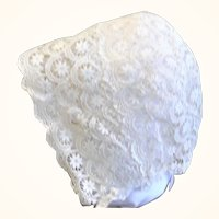 Hand Worked Victorian Lace Cap for Large Papier-mache Wax or Cloth Doll