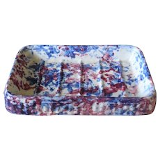 6.5 Inch Mulberry and Blue Spongeware Kitchen Soap Dish