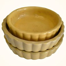 3 Old Yellow Ware Mini Tart Pans or Toy Pie Pans  from PA or NJ