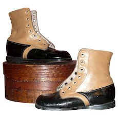 "Old  5.5 "" Boys Saddle & Black Square Toe High Tops"