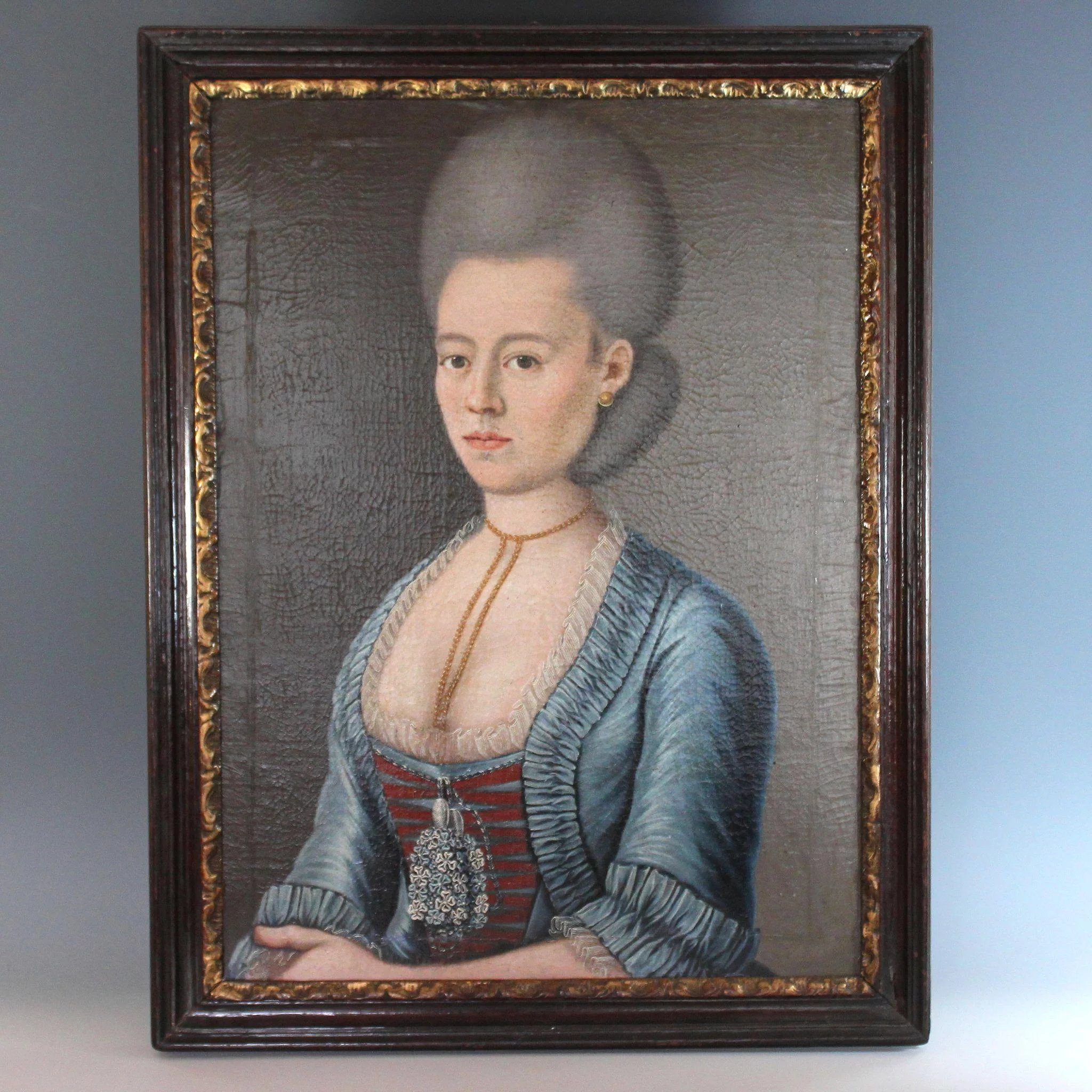 Rare Mid 18th Century Oil On Canvas Portrait Of A French