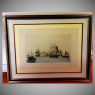 Marine aquatint engraving of The Opium Ships in Lin Tin Harbor 1824