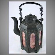 Chinese Tin Signed Tea pot, Republic Era