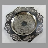 Beautiful Aesthetic Period Reticulated Silver Plate Wine Coaster