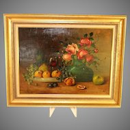 Still Life Painting of  roses and fruit