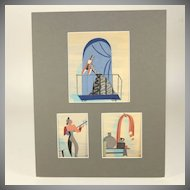 Original mixed media painting by Raoul Pene Du Bois: Serenade