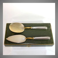 Early French 800 Silver Limoges Serving Set