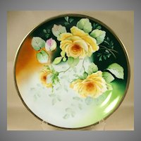 Large Signed Royal Austria Platter, Chop Plate with Yellow Roses