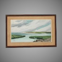 "Seascape Oil Painting by Alfred Whittaker (American 20thC) entitled ""Bayside"""