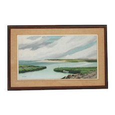 """Seascape Oil Painting by Alfred Whittaker (American 20thC) entitled """"Bayside"""""""