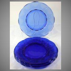 """Hazel Atlas Cobalt Blue Newport Set of 4 Dinner Plates 8 13/16"""""""