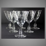 Set of Six Tiffin Monte Carlo Water Glasses, Excellent!