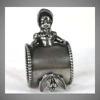 Charming Silver Plate Figural Napkin Ring Small Girl with Bonnet