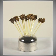 Silver Plate Cocktail Pick holder with 12  Grape Cocktail Picks
