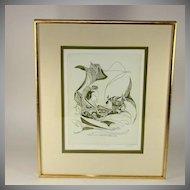 "Pencil signed/numbered D. Eder lithograph, ""Vis a Vis"""