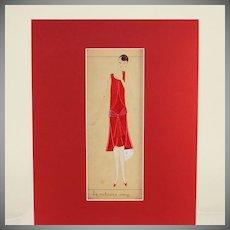 "Fabulous Art Deco original French mixed media fashion drawing, ""le velours rouge"""