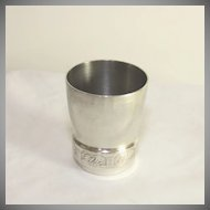 Vintage  French white metal wine cup, beaker