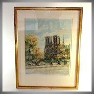 Original pencil signed colored lithograph of Paris: Les Bouquinistes