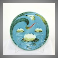 Zell Baden Germany Majolica plate water lily, old vintage marked numbered