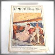 Antique French fashion magazine, Le Mirroir des Modes, July 1909