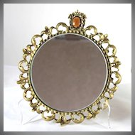 Vintage pair of round gilt framed mirrors with jewels, Hollywood Regency