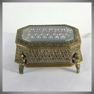 Vintage open worked gilded metal trinket box