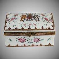 Antique French Limoges dresser, trinket box with British Royal emblem