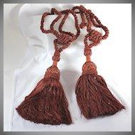 Set of beaded vintage tie backs with large tassels, cinnamon