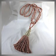 Vintage twisted cord tie back with large tassel, rose and beige