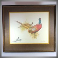 Charles E. Murphy pencil signed color lithograph of a Ring-neck pheasant