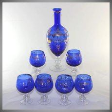 Vintage Italian art glass decanter, pitcher set, cobalt, 6 glasses
