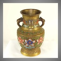 Antique Japanese champlevé jar with griffin handles