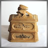 Antique Black Forest two tiered jewelry box, casket
