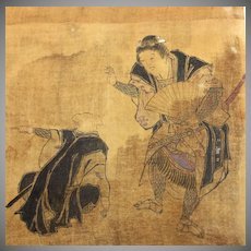 Antique set of 6 Japanese drawings on silk, one signed