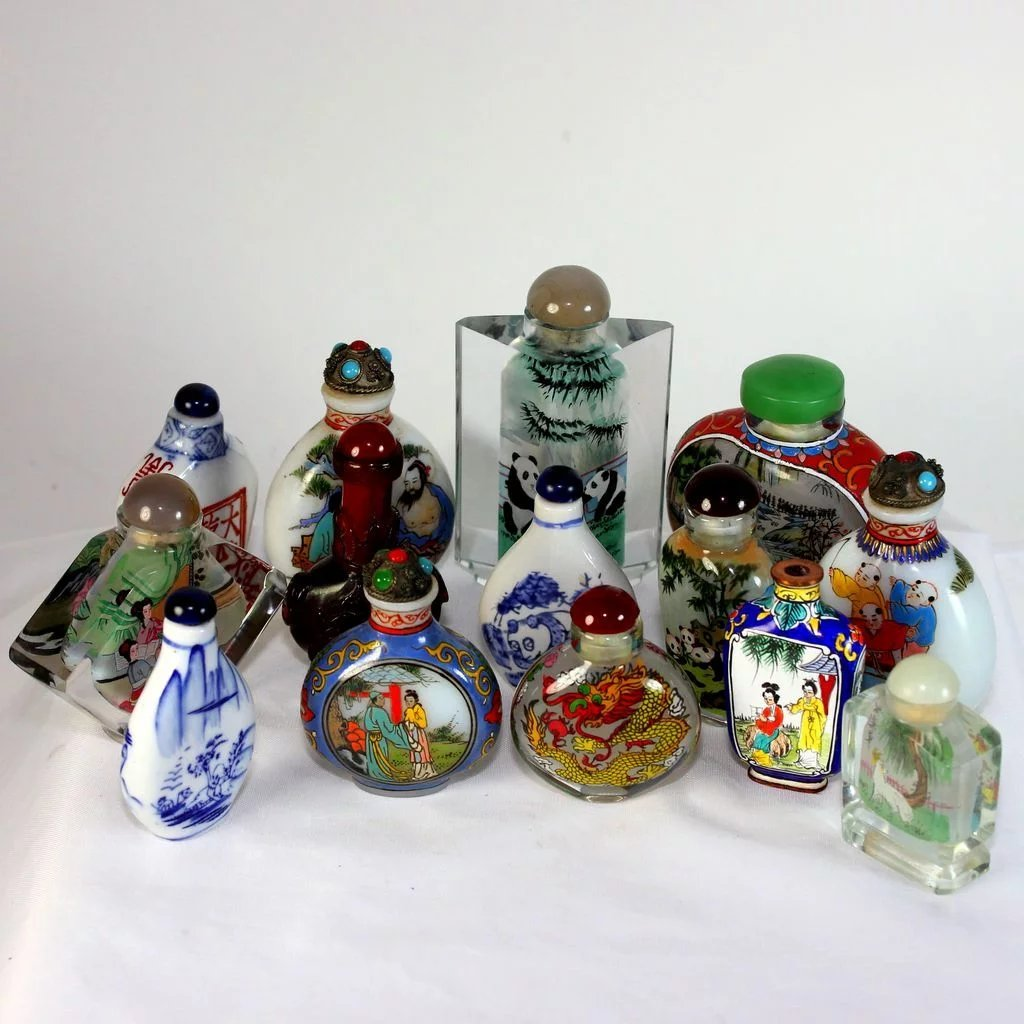Chinese Hand Painted Bottle In Glass