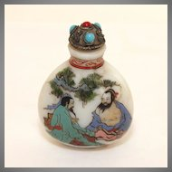 Vintage Glass hand painted Chinese snuff, perfume bottle, signed C