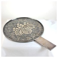 Antique silver plate over copper Japanese mirror