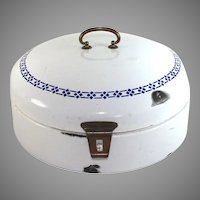 Antique French blue white enamel ware round bread box