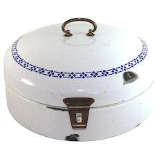 Antique French blue white enamel ware round bread box