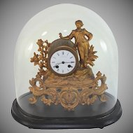 Antique C Detouche eight day regulator clock with glass dome