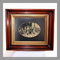 French Silk Stevengraph Woven Picture of a Dance Scene, custom framed