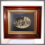 French Silk Stevengraph Woven Picture of a Dance Scene, custom framed