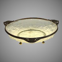 Antique French molded glass and ormolu center piece, bowl