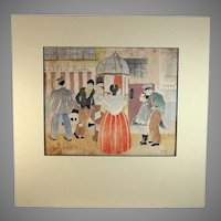 Hand Colored Block Print of Paris Street Scene by American Listed Artist Page Cary (1904-)