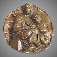 Bronze plaque of Mother and Children, signed F. Barbedienne, Fondeur