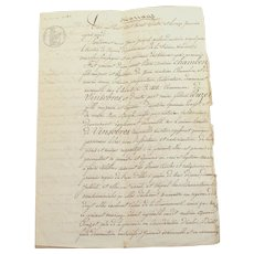 Antique France French Document, contract, Marriage with stamp & watermark