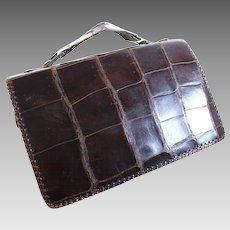 Genuine Vintage Dark Brown Alligator Evening Purse