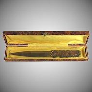 French brass bronze letter opener, signed, box