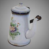 Vintage French enamel ware, granite ware chocolate pot