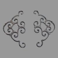 Vintage ornate cast aluminum decorative ornate corner brackets, architectural detail